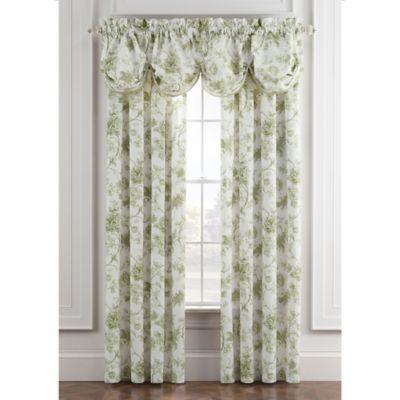 Williamsburg Burwell 84-Inch Rod Pocket Window Curtain Panel Pair in Green/White
