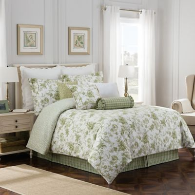 Williamsburg Burwell Reversible Full Comforter Set in Green/White