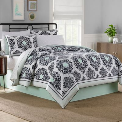 Cooper 8-Piece Reversible Full Comforter Set in Mint