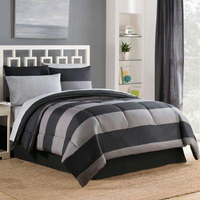 Bryce 6-Piece Reversible Twin Comforter Set in Black/Grey