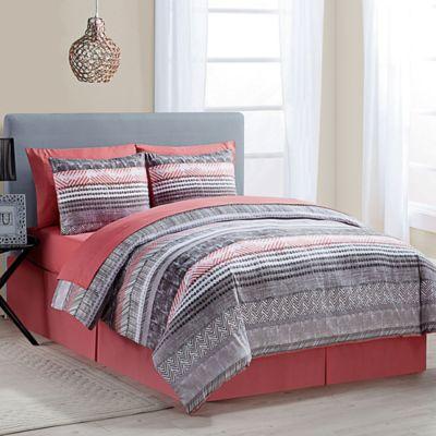 Coral Grey Comforter Set