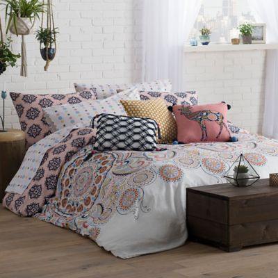 Wander Home Kelia Reversible King Comforter Set in White/Pink