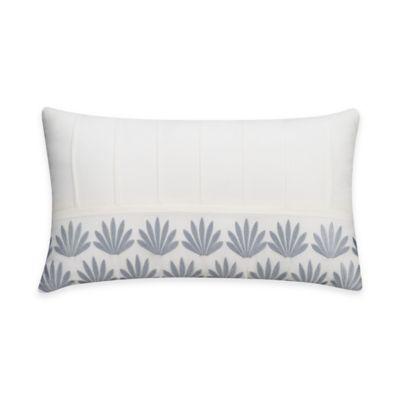 Bridge Street Porto Pintucked Embroidered Oblong Throw Pillow in White
