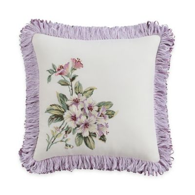 Williamsburg Palace Fringed Square Throw Pillow in Ivory/Lavender