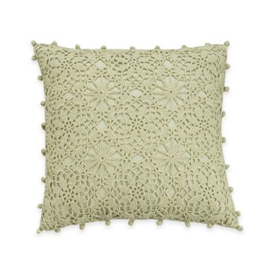Williamsburg Burwell Lace Square Throw Pillow in Green