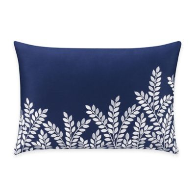 Bridge Street Willow Embroidered Oblong Throw Pillow in Blue