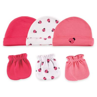 Baby Vision® Luvable Friends® Size 0-6M 6-Piece Ladybug Cap and Mittens Set in Pink