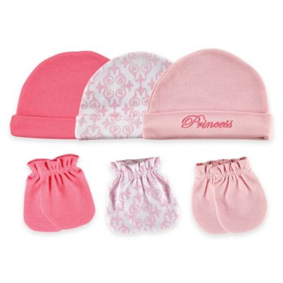 Pink Cap and Mitten Set