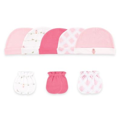 Baby Vision® Luvable Friends™ Size 0-6M 8-Piece Cap and Mitten Set in Pink