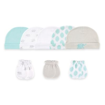 Baby Vision® Luvable Friends® Size 0-6M 8-Piece Cap & Mitten Set in Tan/White/Aqua
