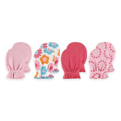 Baby Vision® Luvable Friends 4-Pack Size 0-6M No Scratch Mittens in Pink