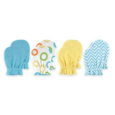 Baby Vision® Luvable Friends 4-Pack Size 0-6M No Scratch Mittens in Yellow