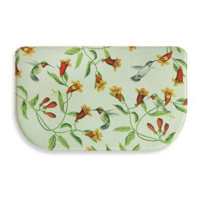 Bacova Hummingbirds and Trumpets 18-Inch x 30-Inch Memory Foam Slice Kitchen Mat in Green/Orange