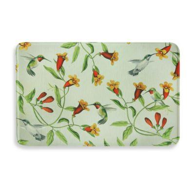 Bacova Hummingbirds and Trumpets 23-Inch x 36-Inch Memory Foam Kitchen Mat in Green/Orange