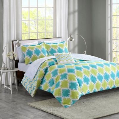Intelligent Design Dixie 6-Piece Reversible Twin Comforter Set in Aqua