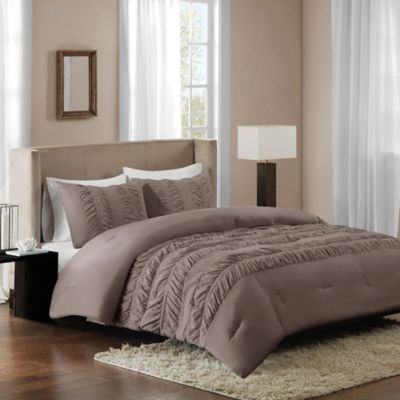Regency Height Deanna Twin Ruched Comforter Set in Grey