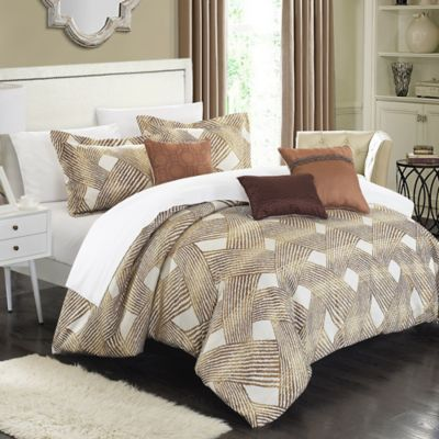 Chic Home Fleurella 6-Piece Queen Comforter Set in Gold
