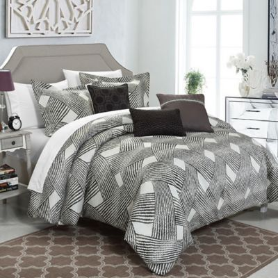 Chic Home Fleurella 6-Piece Queen Comforter Set in Grey
