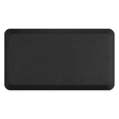 Smart Step by WellnessMats Fleur de Lis 20-Inch x 36-Inch Therapeutic Kitchen Mat in Black