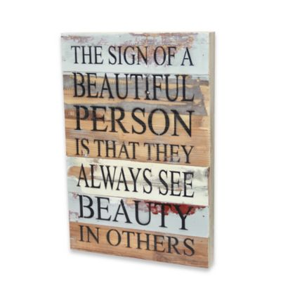 Beautiful Person Inspirational Wood Sign Wall Art