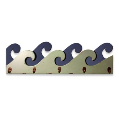 Ocean Wave Shaped 26-Inch Wall Plaque with Hooks in Blue/Green