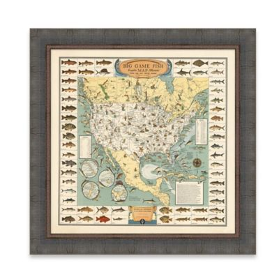 Framed Big Game Fish Map Wall Art
