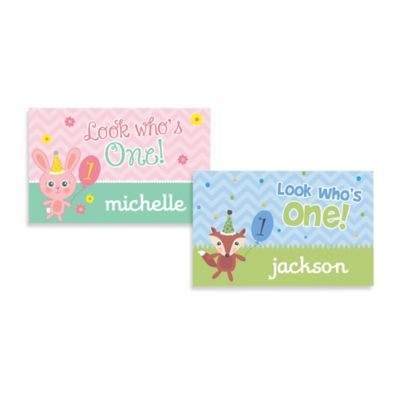 """Look Who's One!"" Birthday Name Placemat in Blue"