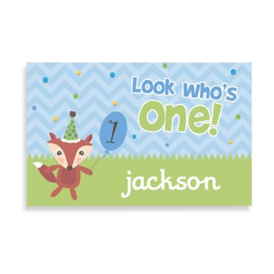 """""""Look Who's One!"""" Birthday Name Placemat in Blue"""