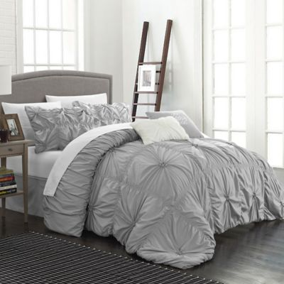 Chic Home Hilton 6-Piece Queen Comforter Set in Silver