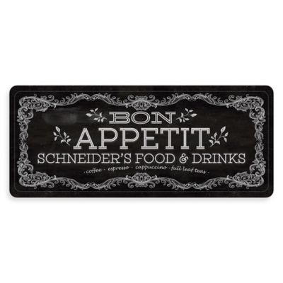 """Premium Comfort by Weather Guard™ """"Bon Appetit"""" 22-Inch x 52-Inch Kitchen Mat in Black/White"""