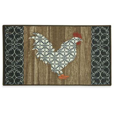 Bacova Barnyard Rooster 22.4-Inch x 40-Inch Berber Kitchen Mat in Black/Brown
