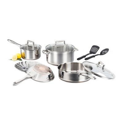 T-Fal® Performance Stainless Steel Copper Bottom 10-Piece Cookware Set
