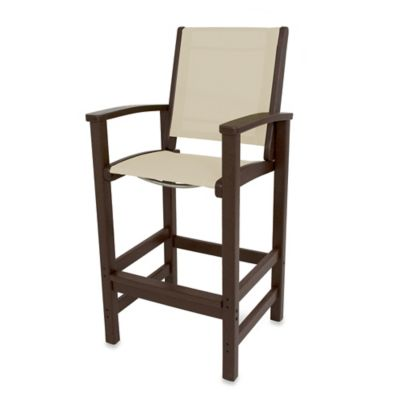 POLYWOOD® Coastal Bar Chair in Mahogany/Tan