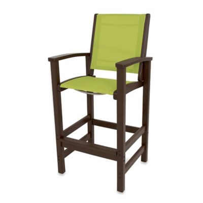 POLYWOOD® Coastal Bar Chair in Mahogany/Green