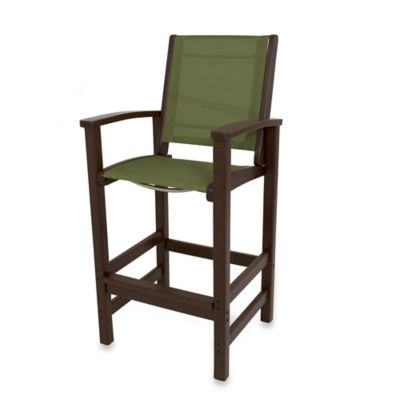 POLYWOOD® Coastal Bar Chair in Mahogany/Kiwi