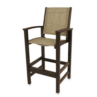 POLYWOOD® Coastal Bar Chair in Mahogany/Burlap