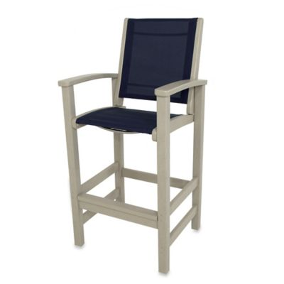POLYWOOD® Coastal Bar Chair in Sand/Navy
