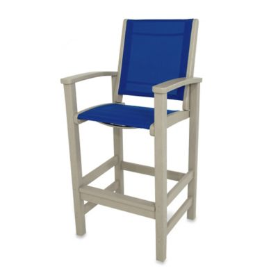 POLYWOOD® Coastal Bar Chair in Sand/Blue
