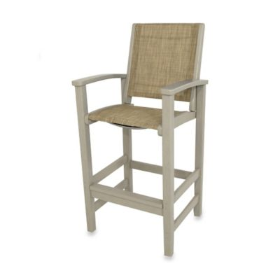 POLYWOOD® Coastal Bar Chair in Sand/Burgundy
