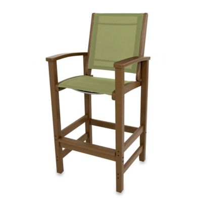 POLYWOOD® Coastal Bar Chair in Teak/Kiwi