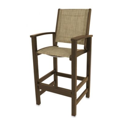 POLYWOOD® Coastal Bar Chair in Teak/Burlap