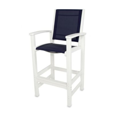POLYWOOD® Coastal Bar Chair in White/Navy