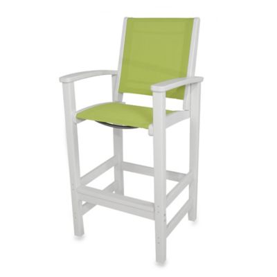 POLYWOOD® Coastal Bar Chair in White/Green