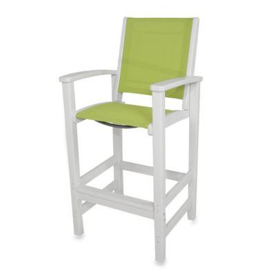 POLYWOOD® Coastal Bar Chair in White/Green