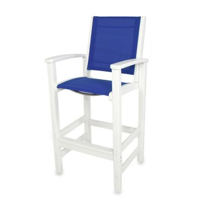 POLYWOOD® Coastal Bar Chair in White/Blue