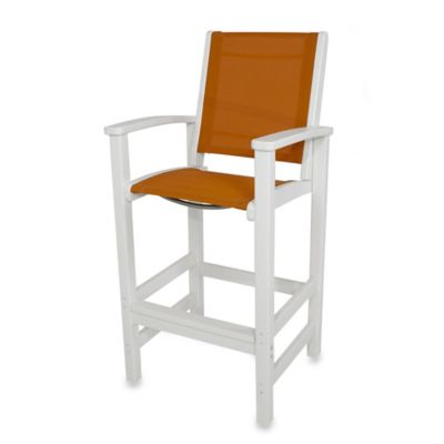 POLYWOOD® Coastal Bar Chair in White/Orange