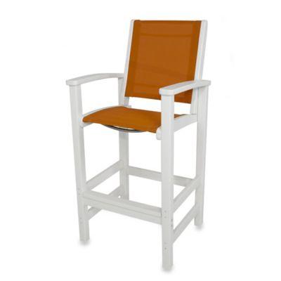 POLYWOOD® Coastal Bar Chair in White/Orange