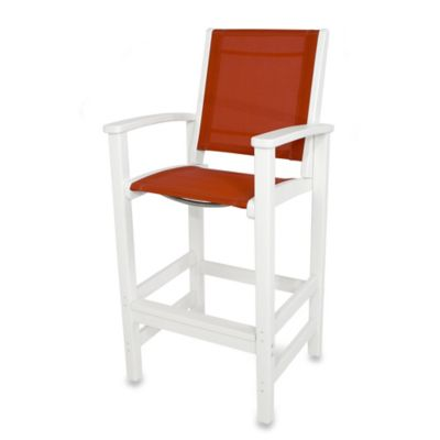 POLYWOOD® Coastal Bar Chair in White/Red