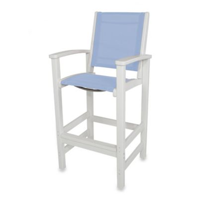 POLYWOOD® Coastal Bar Chair in White/Light Blue