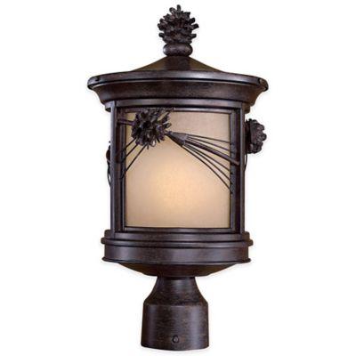 Minka Lavery® Abbey Lane™ 1-Light Post-Mount Outdoor Lantern in Iron Oxide